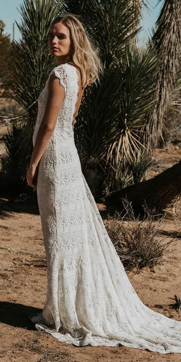 beach destination wedding dresses sheath with cap sleeves boho v back lace daughters of simone