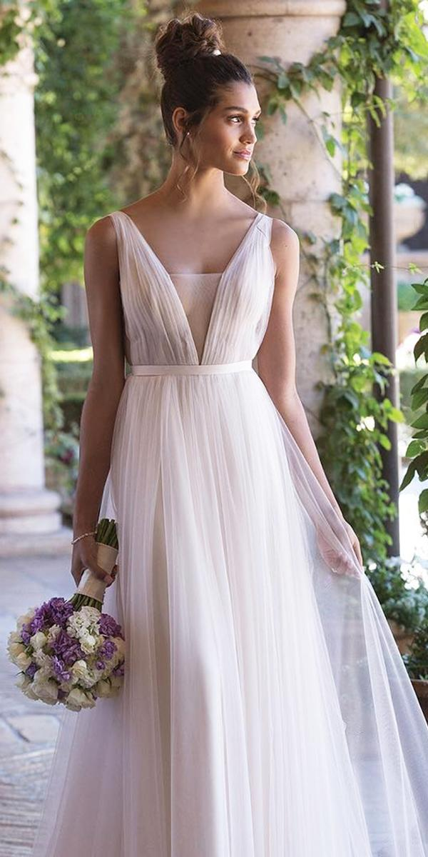 beach destination wedding dresses simple a line v neckline sincerity bridal