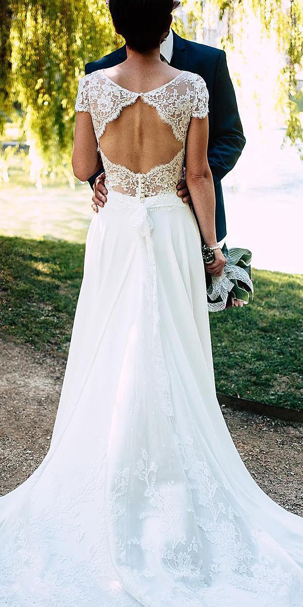 beach destination wedding dresses with cap sleeves open back lace marie laporte creatrice