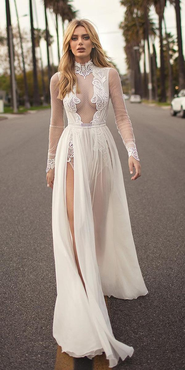 beach destination wedding dresses with long sleeves high neck lace berta