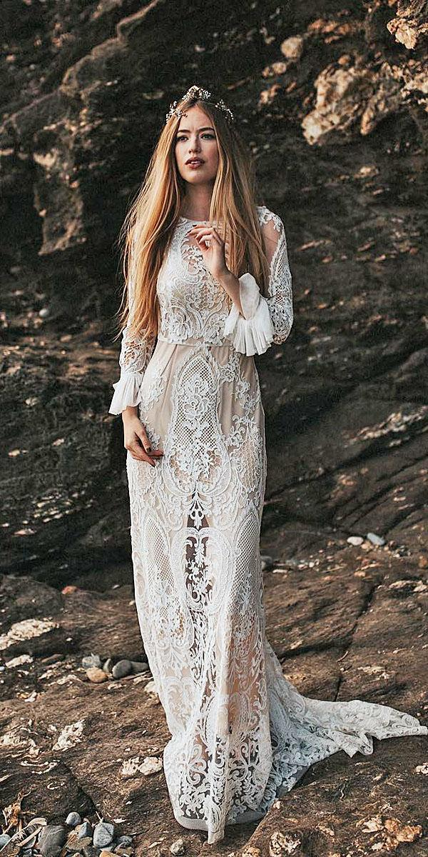 beach destination wedding dresses with long sleeves lace vintage immacle novias