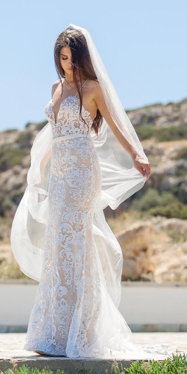 beach destination wedding dresses with spagheti straps lace goddess by nature