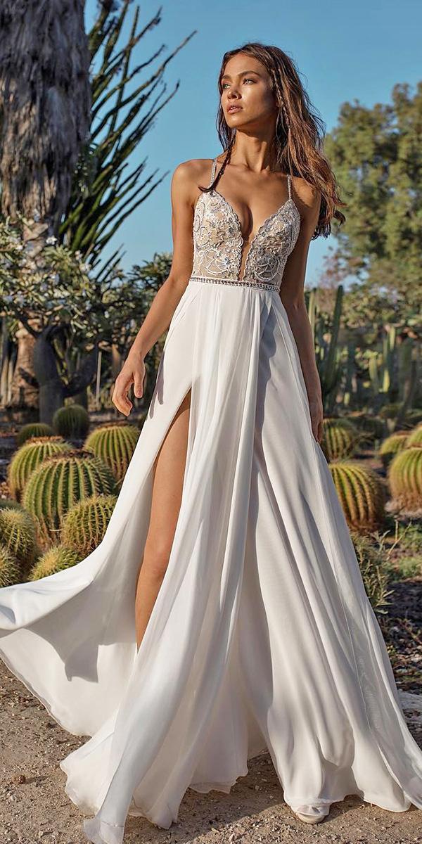 beach destination wedding dresses with spaghetti straps deep v neckline slit asaf dadush bridal
