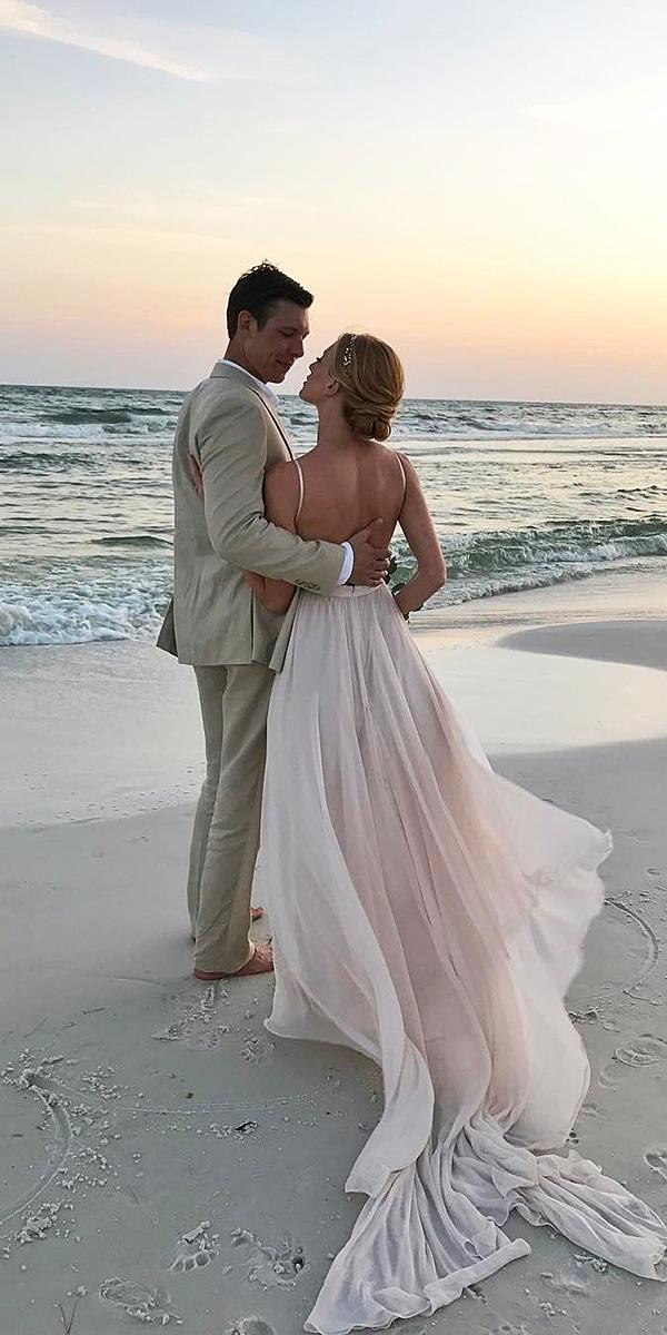 beach destination wedding dresses with spaghetti straps simple train leanne marshall
