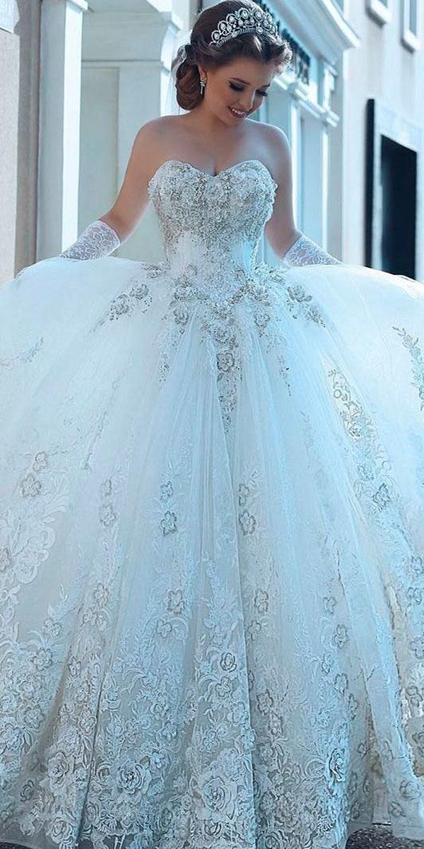 Bling Ball Gown Strapless Sweetheart Neckline Princess Wedding Dresses Alloccasions