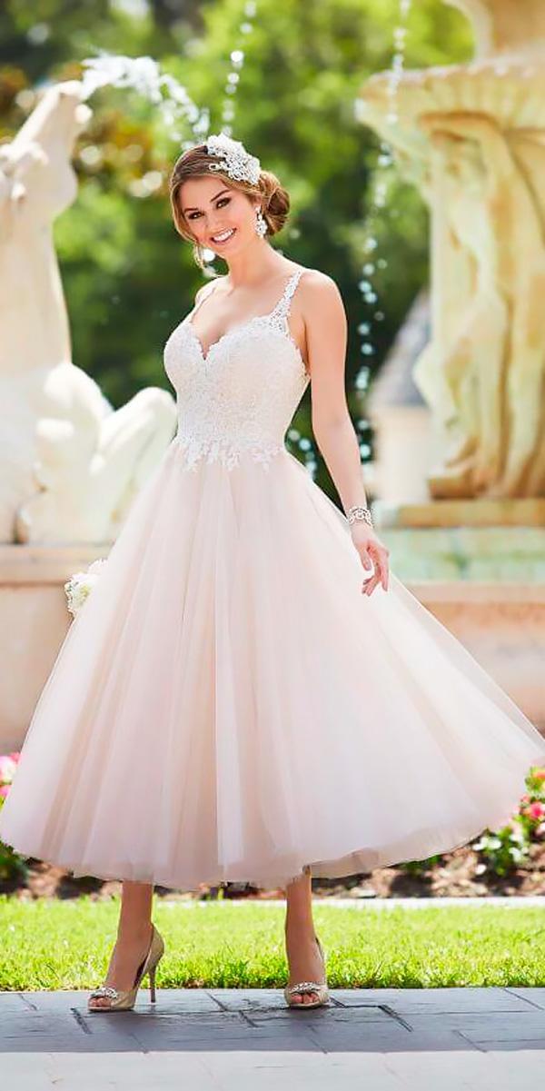 blush lace sweetheart with straps tea length wedding dresses stella york