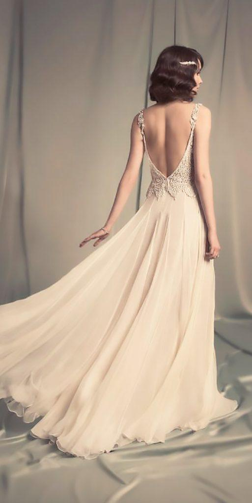 boho vintage wedding dresses flowy low back lace beaded straps hila gaon 14