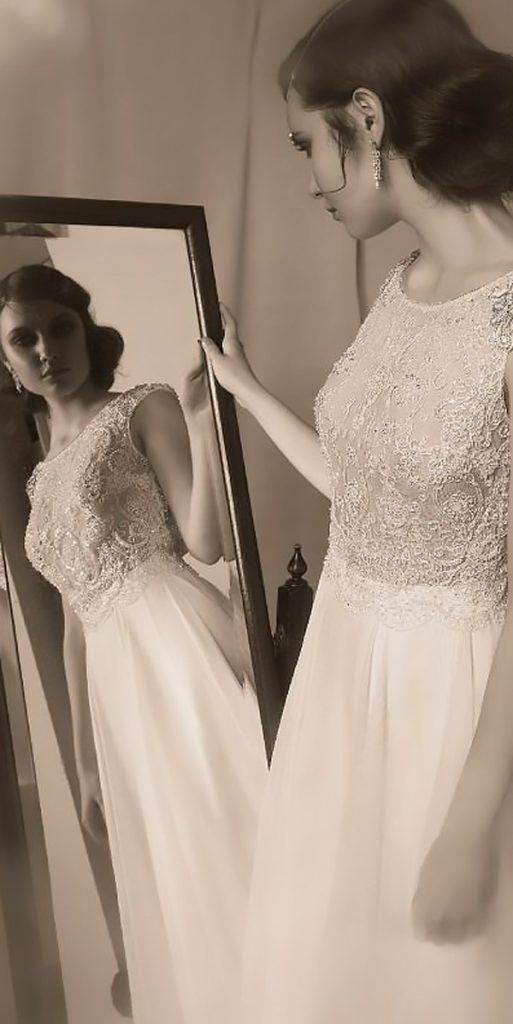 boho vintage wedding dresses lace straight bateau neck hila gaon 6
