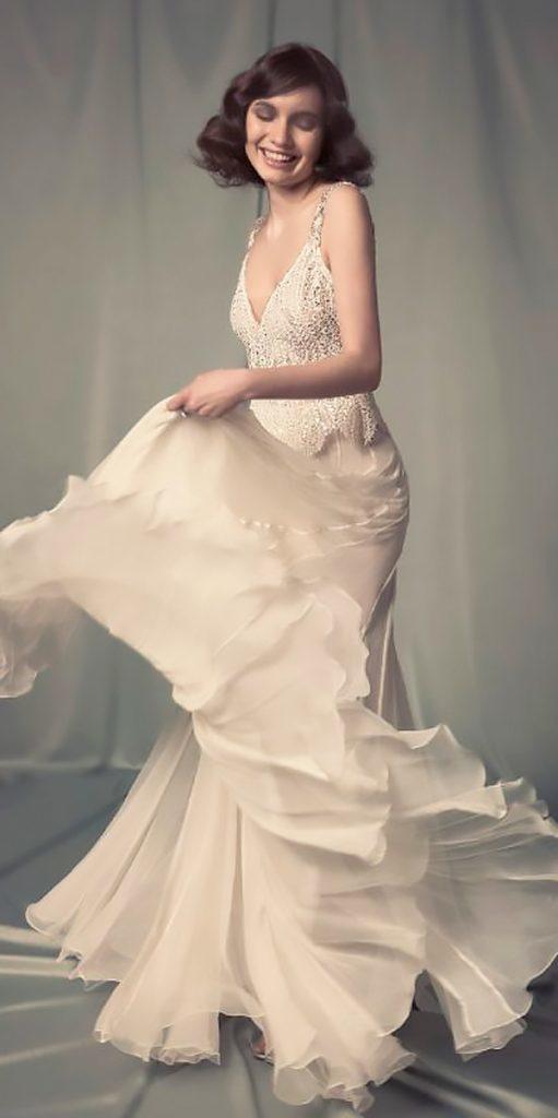 boho vintage wedding dresses v neckline flowy spaghetti straps hila gaon 14