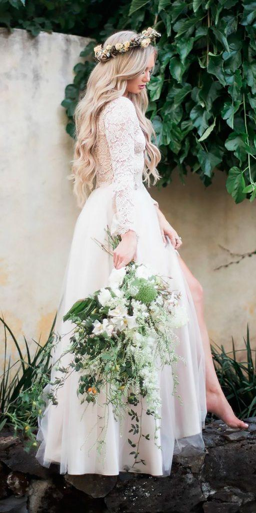 boho wedding dresses with sleeves a line open back lace bliss tulle