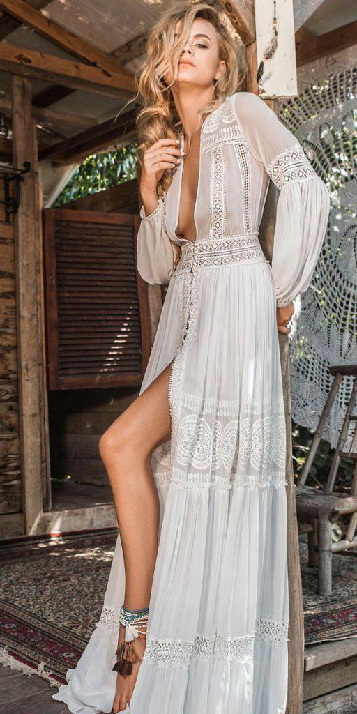 boho wedding dresses with sleeves deep v neck full lace long sleeves embellishment inbal raviv