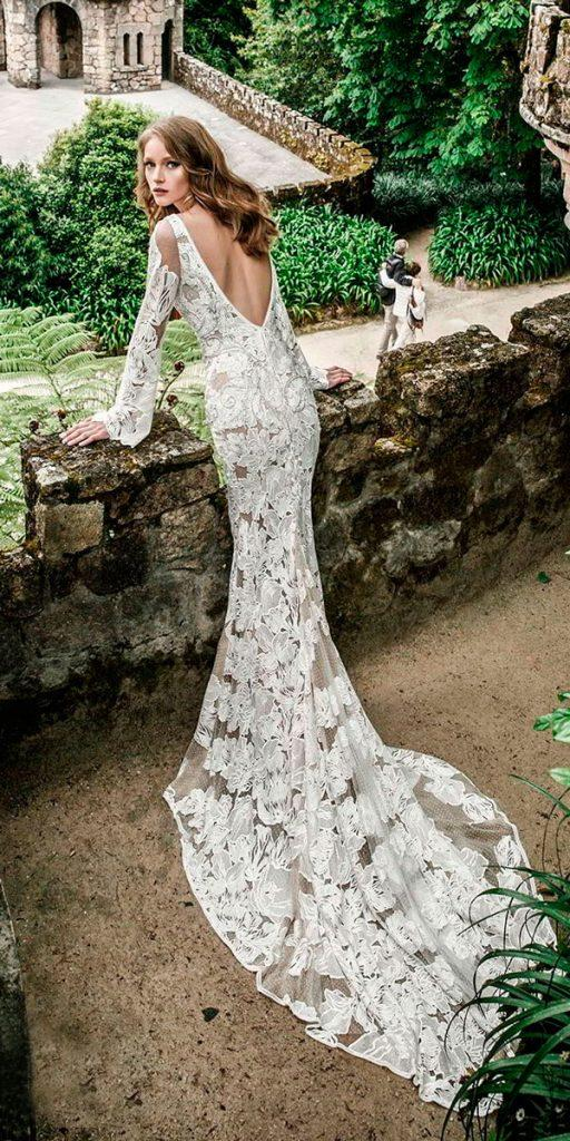 boho wedding dresses with sleeves full embellishment fit and flare open v back netta ben shabu