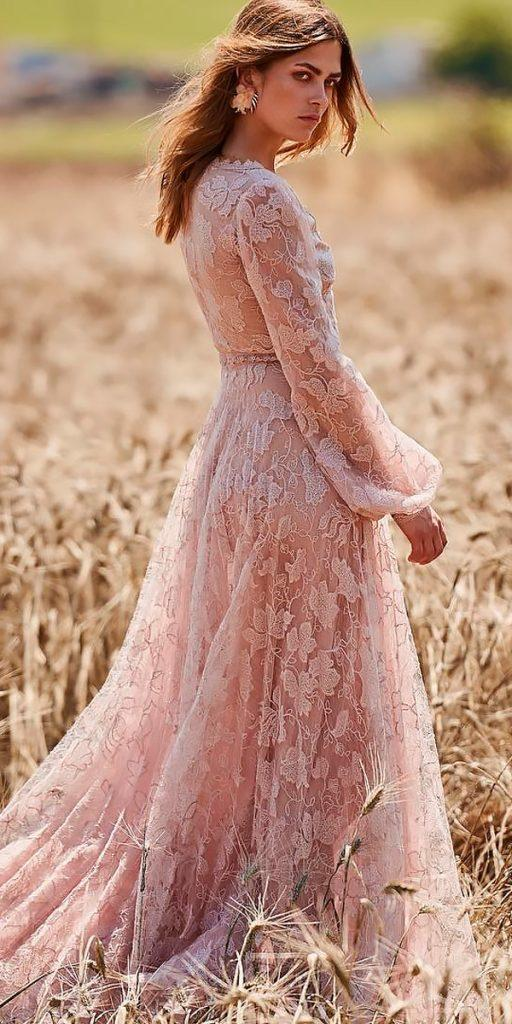 boho wedding dresses with sleeves hippie blush a line floral christos costarellos