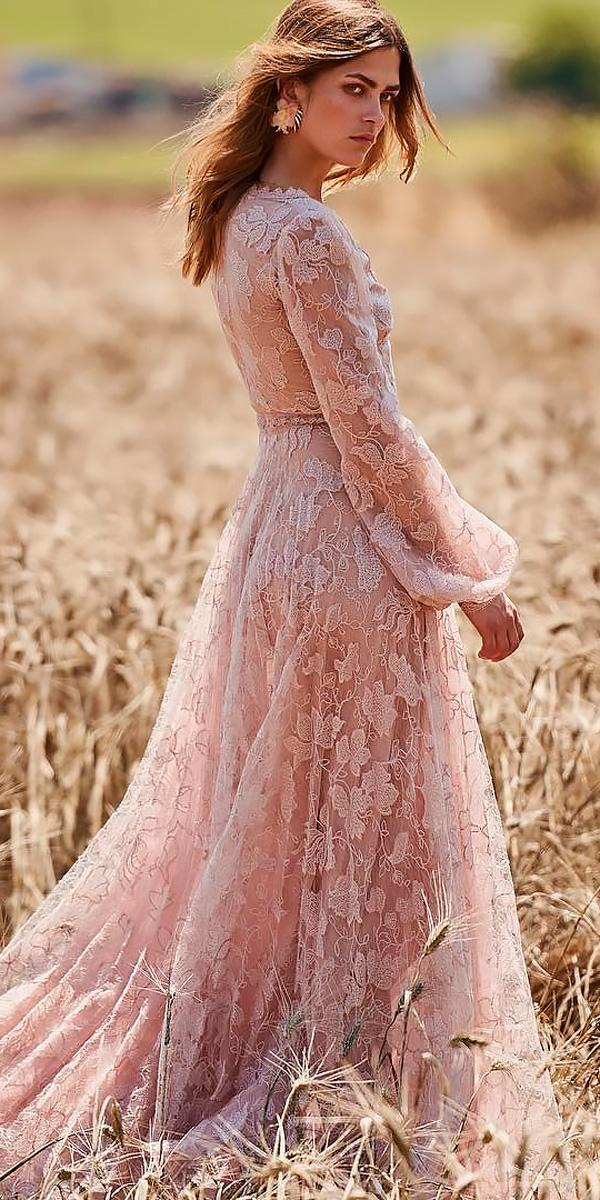 Boho Wedding Dresses With Sleeves Hippie Blush A Line
