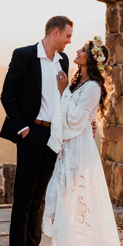 boho wedding dresses with sleeves hippie straight lace blake mansfield
