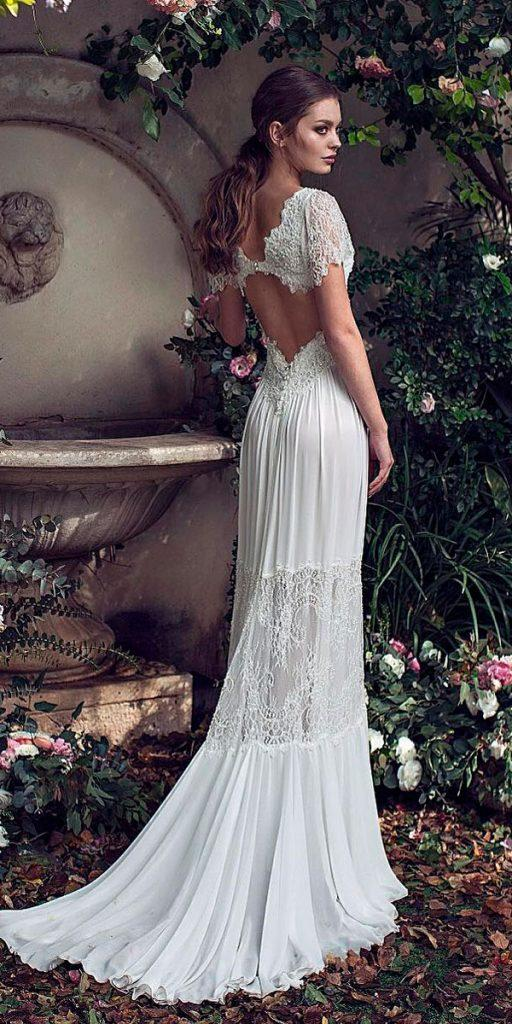 boho wedding dresses with sleeves lace sheath open back asaf dadush