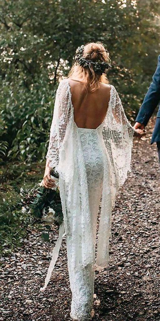 boho wedding dresses with sleeves open back sheath lace grace loves lace