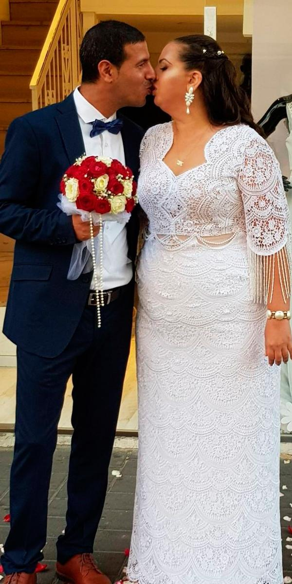 boho wedding dresses with sleeves plus size straight lace v neckline studio levana