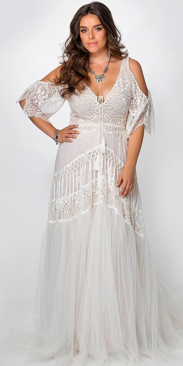 boho wedding dresses with sleeves plus size straight lace v neckline with open shoulders rish bridal