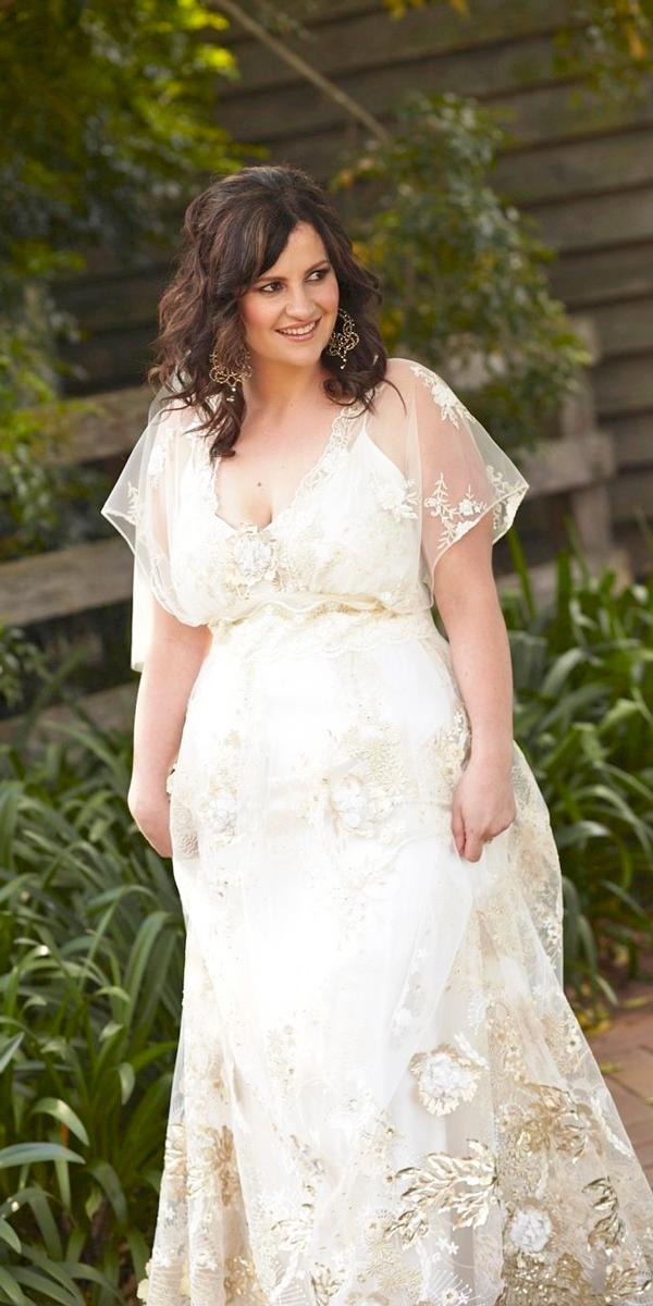 boho wedding dresses with sleeves plus size straight v neckline claire pettibone