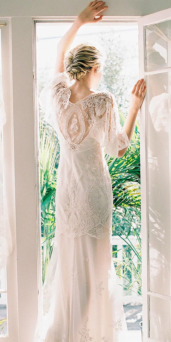 boho wedding dresses with sleeves straight lace backless claire pettibone