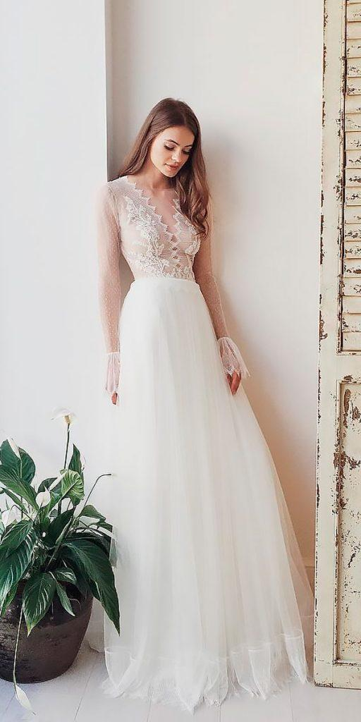 boho wedding dresses with sleeves straight lace v neckline divine atelier