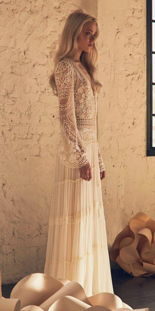 boho wedding dresses with sleeves stunning lace straight inbal raviv