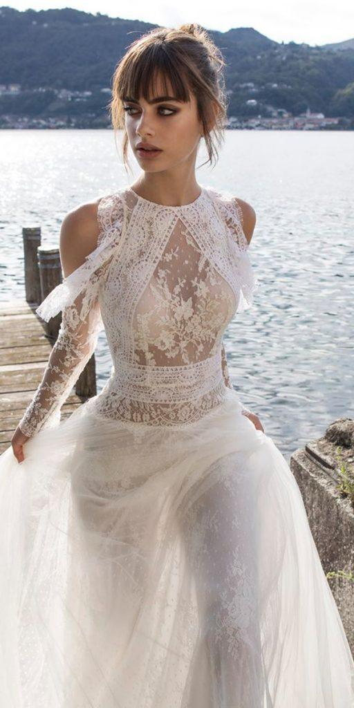 boho wedding dresses with sleeve unique high neckline with open shoulders pinella passaro