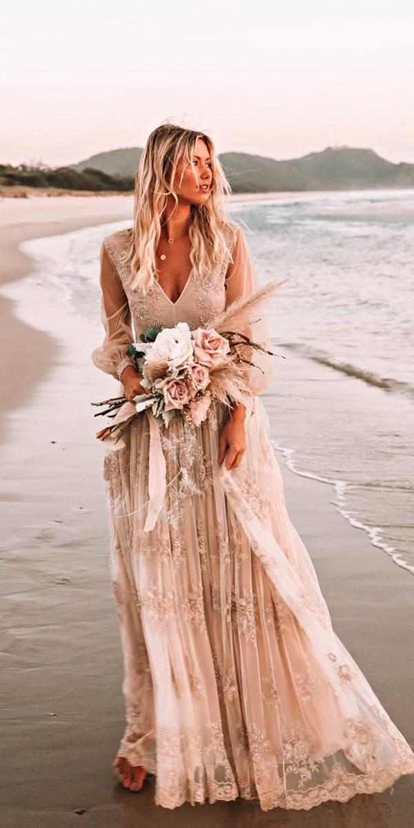 boho wedding dresses with sleeves vintage straight gathered skirt v neckline illusion sleeves kate willa