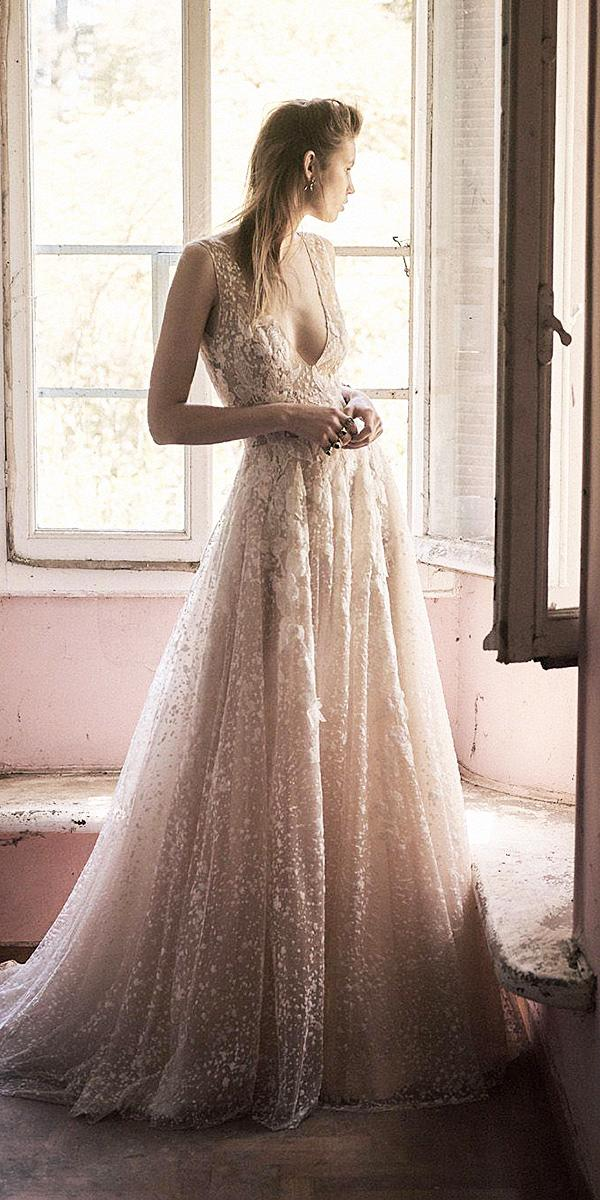 christos costarellos wedding dresses 2018 a line deep v neckline sleeveless floral embellishment