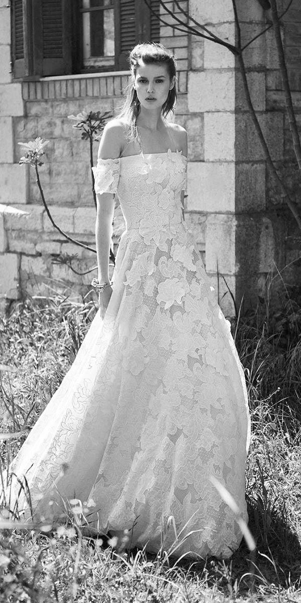 christos costarellos wedding dresses 2018 a line off the shoulder 3d floral