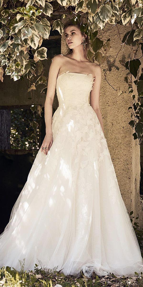 christos costarellos wedding dresses 2018 a line straight accross floral appliques