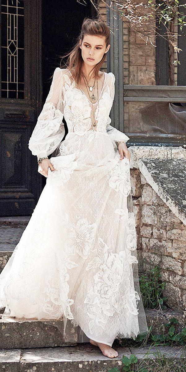 christos costarellos wedding dresses 2018 a line with long sleeves nude 3d floral