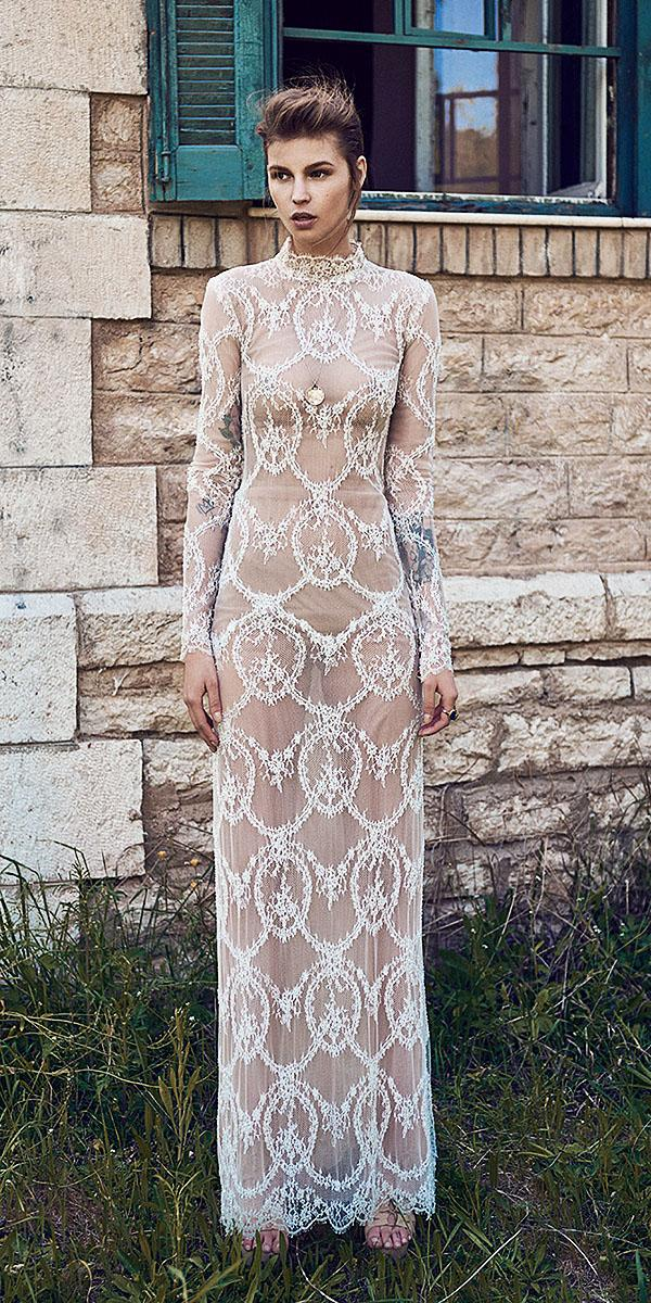 christos costarellos wedding dresses 2018 sheath high neck with long sleeves nude