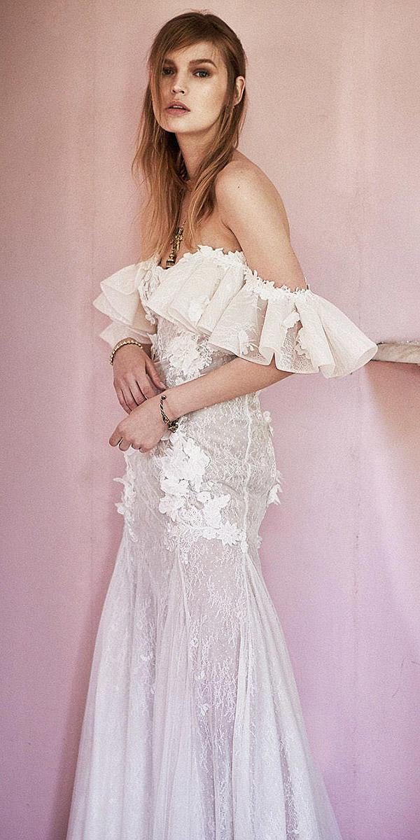 christos costarellos wedding dresses 2018 sheath off the shoulder delicate lace