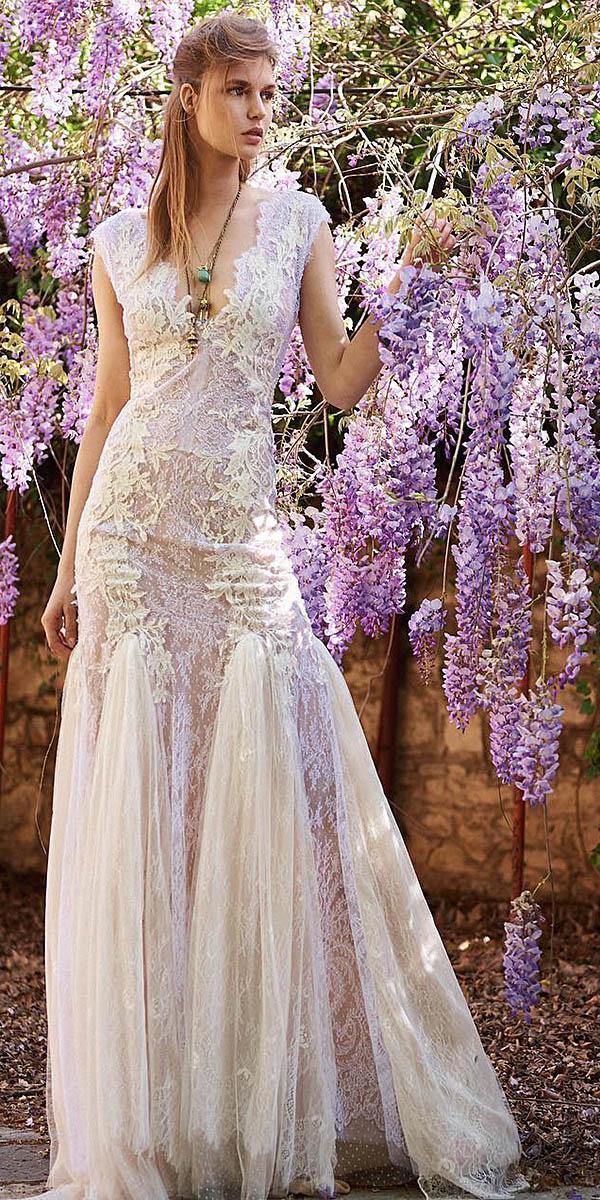 christos costarellos wedding dresses 2018 sheath with cap sleeves deep v neckline lace embellishment