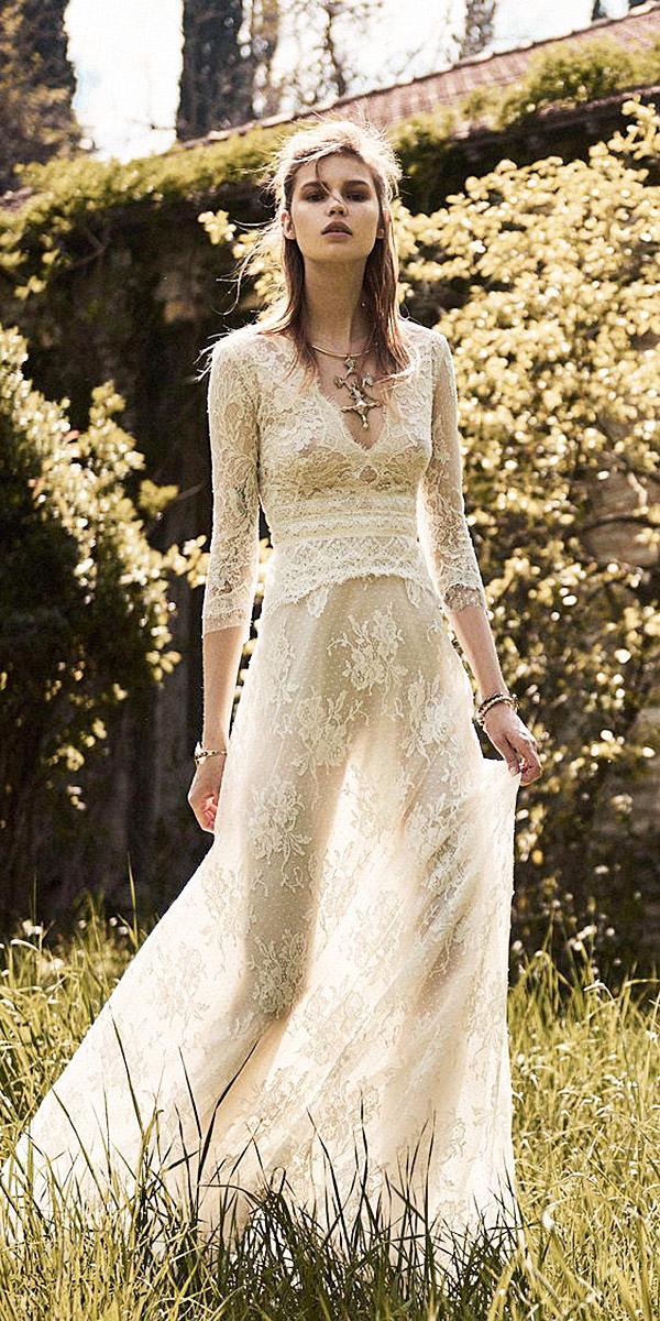 christos costarellos wedding dresses 2018 sheath with sleeves deep v neck nude fabrics full lace
