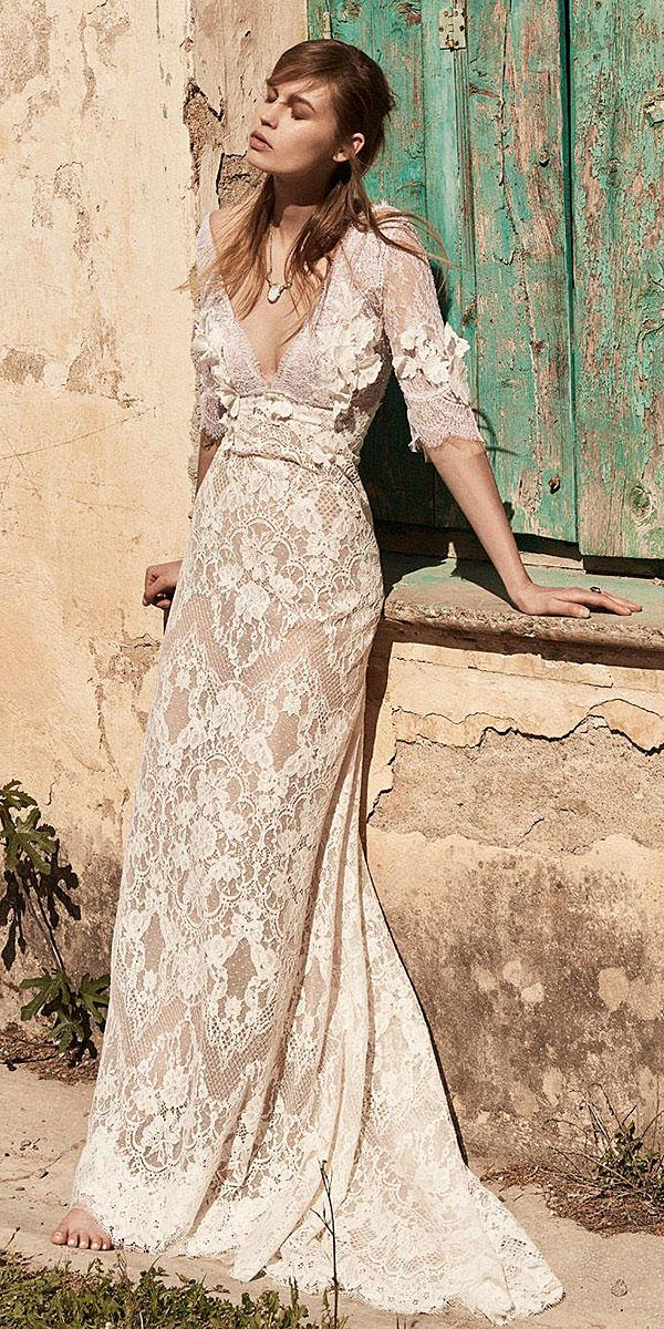 christos costarellos wedding dresses 2018 with three quote sleeves deep v neckline lace blush