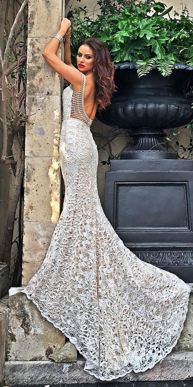 cristiano lucci bridal low back with train vintage unique lace wedding dresses