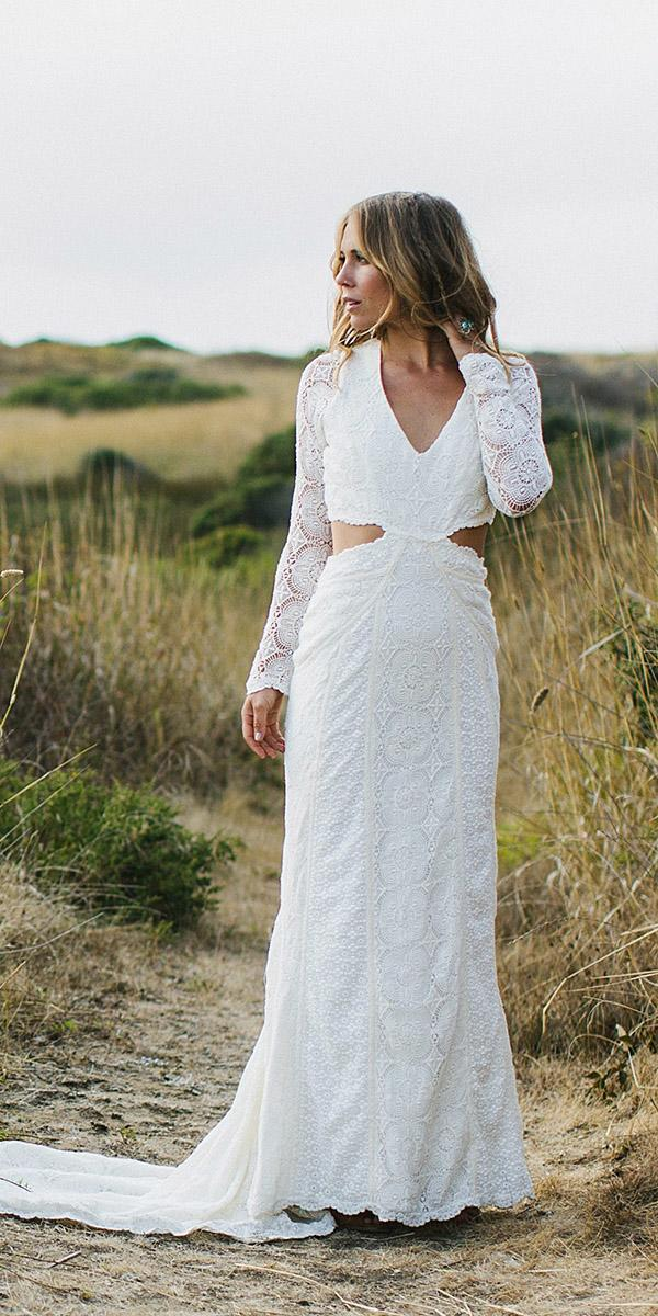 daughters of simone bohemian wedding gowns lace sleeves v neckline cut out