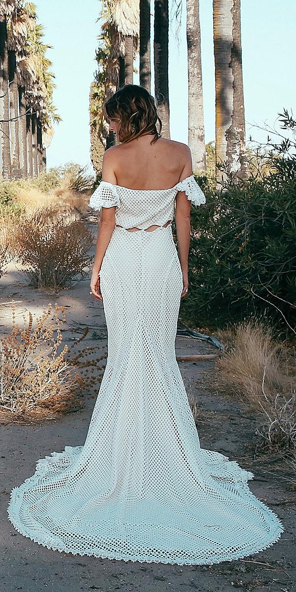 daughters of simone bohemian wedding gowns low Back crochet lace off the shoulder