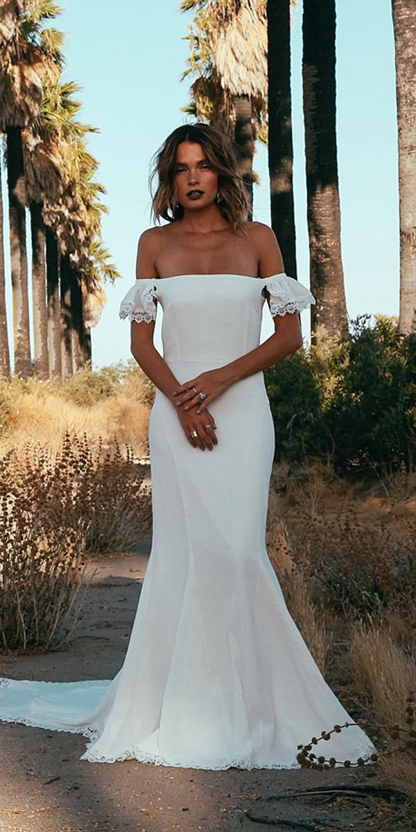 daughters of simone bohemian wedding gowns off the shoulder sheath