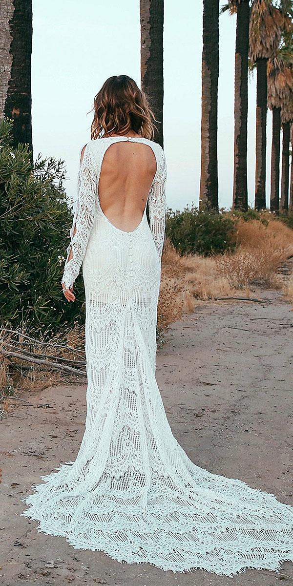 daughters of simone bohemian wedding gowns open back full lace with train