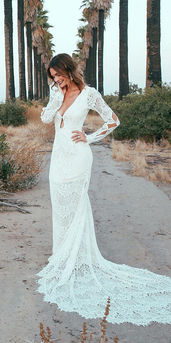 daughters of simone bohemian wedding gowns sheath with long slleves cut out