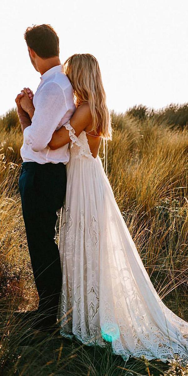 beach destination wedding dresses a line low back off the shoulder boho rue de seine bridal