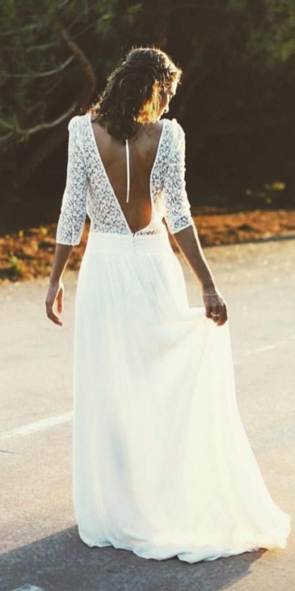 beach-destination wedding dresses a line with three quote sleeves satin skirt lace top vintage laure de sagazan