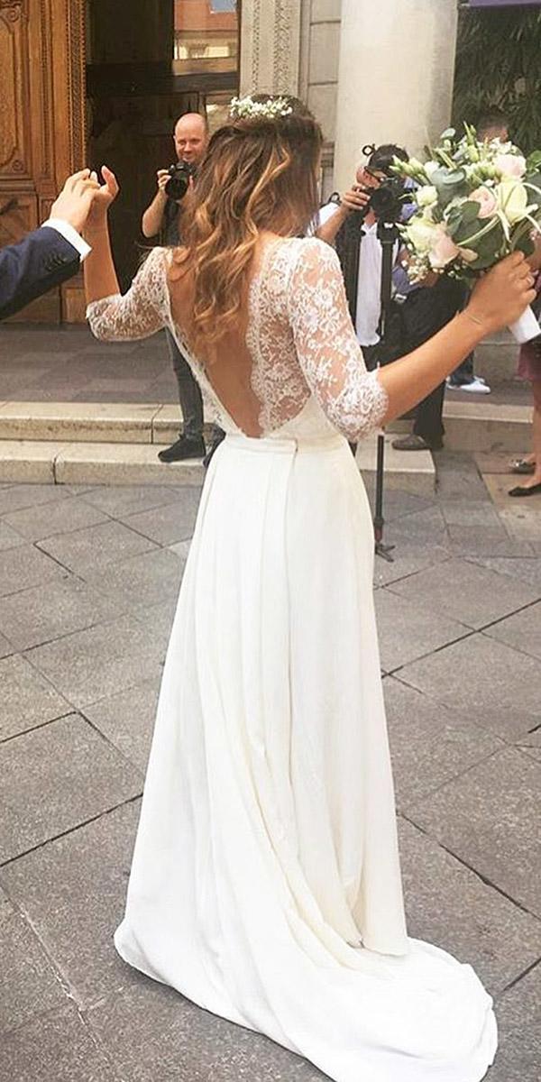 beach destination wedding dresses lace top a line low back three quote sleeves laure de sagazan