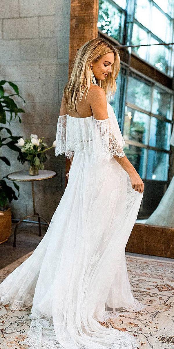 destination wedding dresses sheath boho lace gloral embellishment grace loves lace