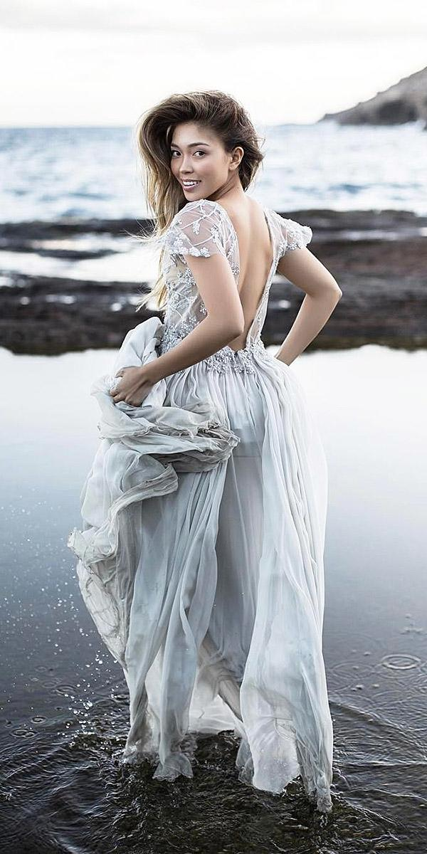 beach destination wedding dresses with cap sleeves lace top tulle skirt shop gossamer