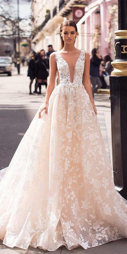 1a818d9df1 fantasy wedding dresses ball gown deep v neckline floral blush milla nova